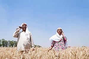 Rural Farmer Couple Standing Together Farm Talking