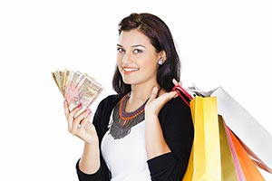 Woman Shopping Bags Money