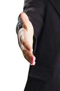 Businesswoman Hand Extended Handshake