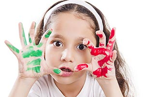 Angry Kid Girl Showing Hands palm Paint Teasing