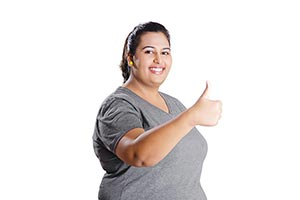 Portrait Overweight Woman Fitness Smiling Thumbsup