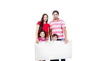 happy family Children holding whiteboard
