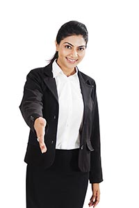 Indian Business Woman Handshake