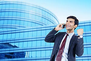Businessman Talking Phone Success Victory Outside