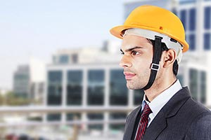 Architect Man Thinking Construction Site