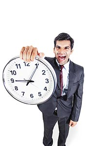 Businessman Shouting Showing Clock Punctuality