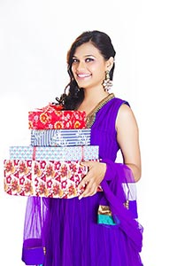 Indian Woman Present Gift Box
