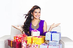 Indian Woman Gesturing Gifts Birthday