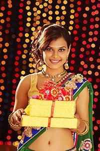 Woman Diwali Showing Gift Box