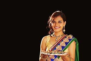 Woman Diwali Festival Diyas