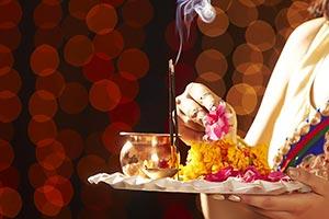 Woman Diwali Festival Puja