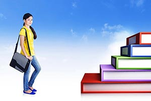 Digital books college student Walking book step ed