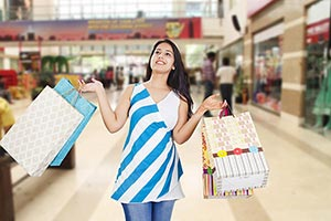 Young Woman Shopping Bags Smiling Mall