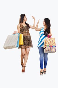 Two Young Women Clapping Hands Shopping Bags