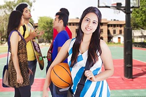 Group College Students Girl Basketball Court Campu