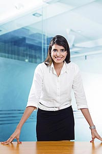 Indian Businesswoman Employer Standing Office Cabi