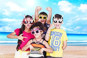 Happy Children Friends Beach Enjoying Summer Vacat