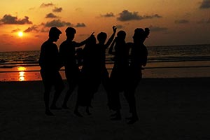 Silhouette Group Friends Sunset Party Holidays