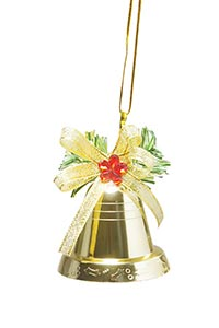 Gold Christmas Bell hanging on ribbon Decoration