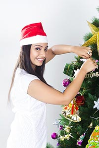 1 Young woman Christmas Festival Celebration Tree