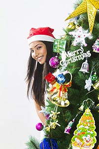 1 Indian Young Woman Christmas Celebration Tree Pe
