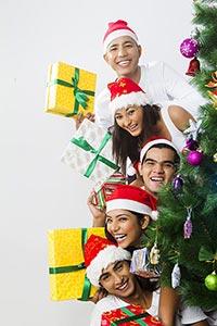 Group Friends Christmas Celebration Peeking Tree G