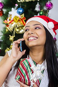 1 Indian Young Woman Talking Phone Gratitude Gift