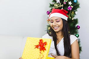 Happy Young Woman Open Present Gift Box Christmas
