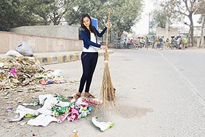 clean street: Indian Young Woman College Student W
