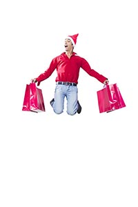1 Young Young Boy carrying shopping bags jumping m
