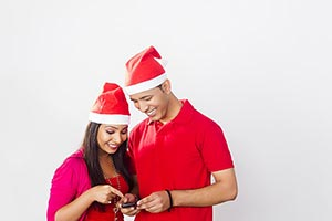 2 Indian Young Couple Reading Messaging Chatting P