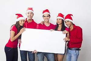 Group Young Friends Holding White Board Christmas