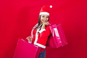 Happy 1 Young Woman With Shopping Bags Christmas C