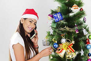 Christmas Tree Decoration Indian Lady Talking Phon