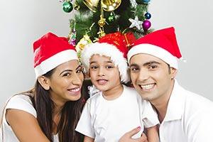 Happy Parents Child Son Christmas Celebrating Enjo