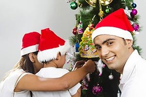 Son And Mother Decorating Christmas Tree Father Sm