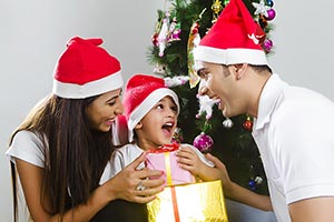 Surprise d Boy Receiving Christmas Gift Parents Ex