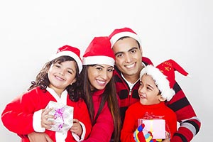 Happy Family Christmas Gifts Celebration Smiling