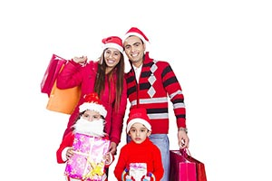 Indian Family Christmas Shopping Bags Winter Cloth