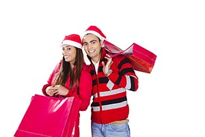 Indian Couple Christmas Winter Clothes Shopping Ba