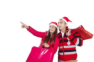 Couple Christmas Winter Clothes Shopping Bags Poin