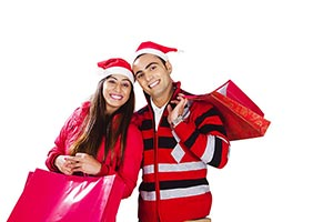 Couple Christmas Winter Clothes Shopping Bags Smil