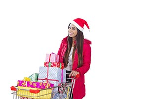 Woman santa hat Christmas gifts Shopping Cart