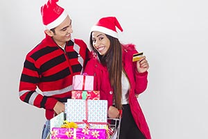 Happy Couple christmas Credit card shopping gift T