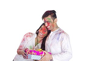 Couple Holi Festival Receiving Gift s Celebration