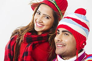 Indian Young Couple Winter Clothing Smiling Enjoyi