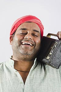 Indian Rural Man Listening Music Radio