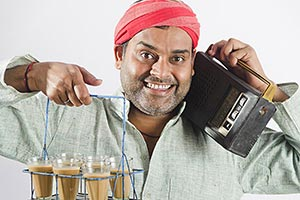 Man Tea Servant Showing Glasses Hearing Fm Radio