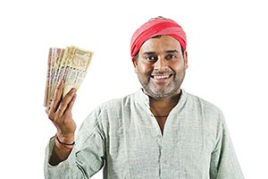 Indian Rural Farmer Man Showing Money Lottery