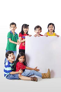 Group kids Showing White board
